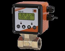 dpe-zed-durchfluss.png: Turbinakerekes ármalásmérő - adagoló elektronikával  DPE, ZED kijelzővel