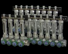usr-durchfluss.png: Válvulas distribuidoras para modelo USR de instalaciones múltiples para líquidos