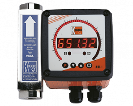 vkm-adi-1-durchfluss.png: Viscositiy Compensated Flowmeter / switch - All Metal VKM with ADI