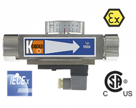 vkm-durchfluss.png: Vicositiy Compensated Flowmeter / switch - All Metal VKM