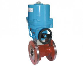 z1-kua-vo.png: Grey Cast Iron-Flange Ball Valve with Electric Actuator KUA-VO